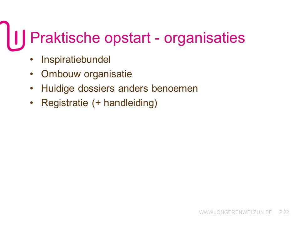 Praktische opstart - organisaties
