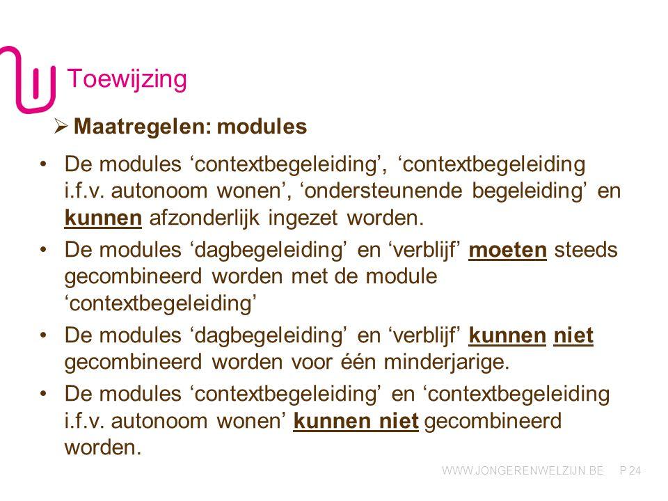 Toewijzing Maatregelen: modules