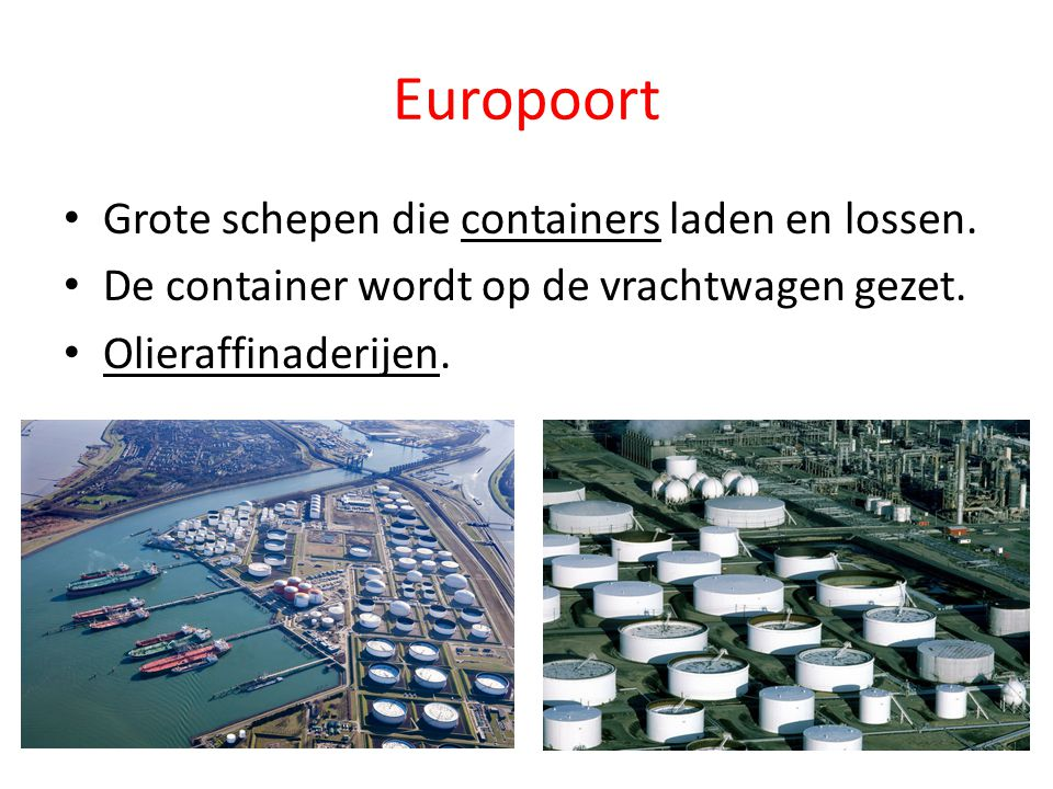 Europoort Grote schepen die containers laden en lossen.