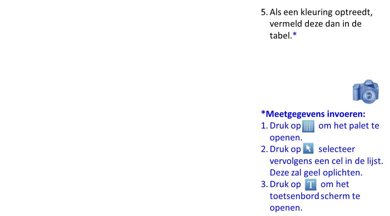 Als een kleuring optreedt, vermeld deze dan in de tabel.*