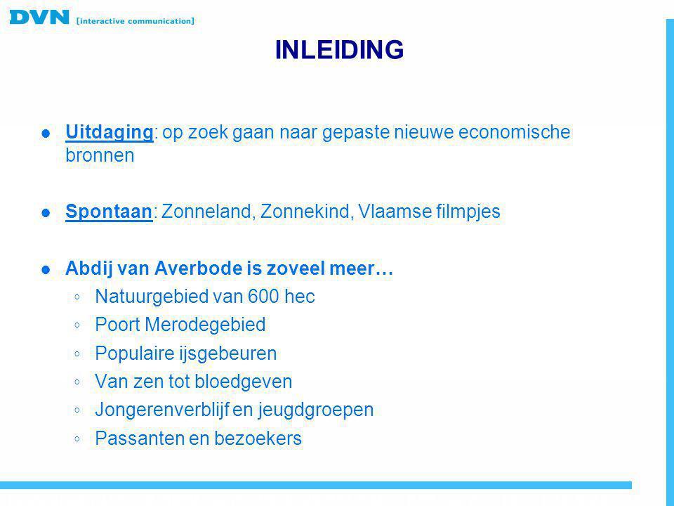 INLEIDING Uitdaging: op zoek gaan naar gepaste nieuwe economische bronnen. Spontaan: Zonneland, Zonnekind, Vlaamse filmpjes.