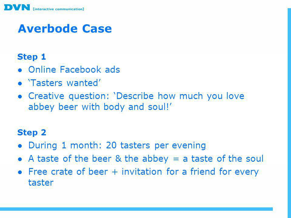 Averbode Case Online Facebook ads 'Tasters wanted'