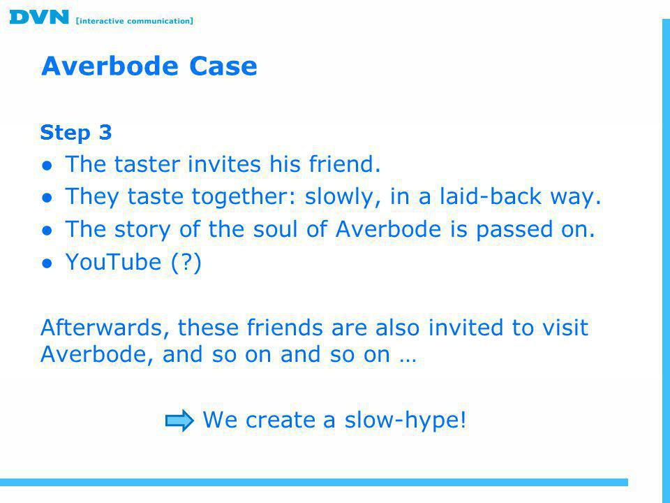 Averbode Case The taster invites his friend.