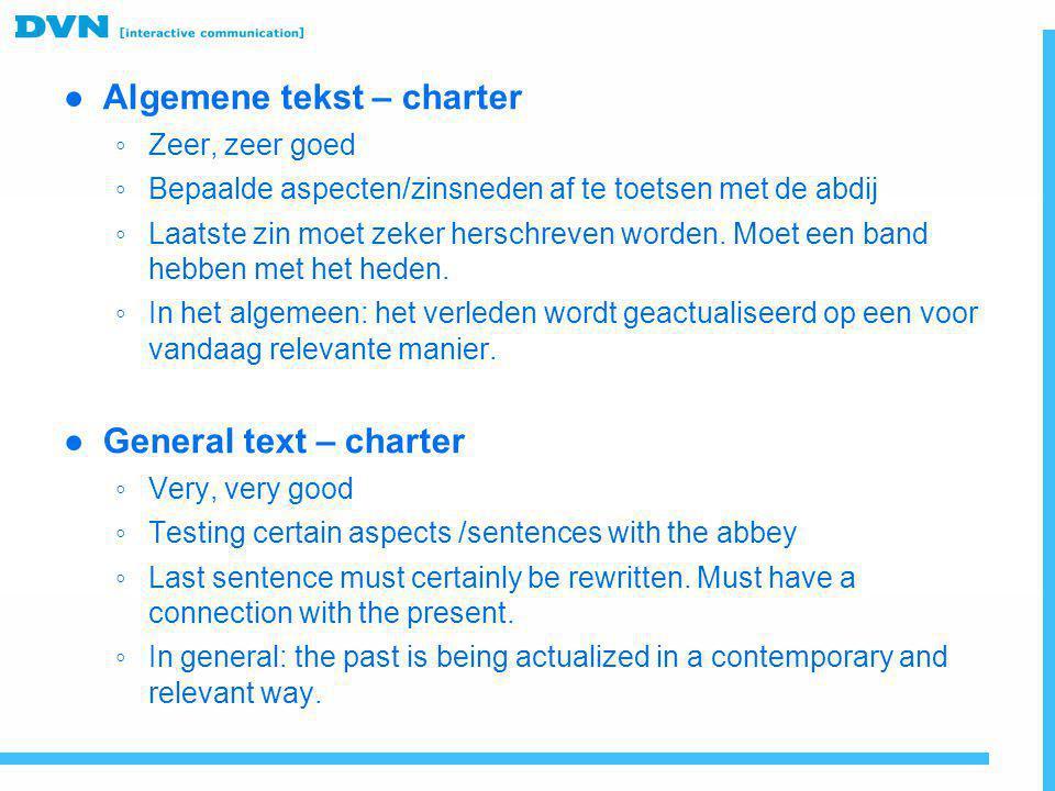 Algemene tekst – charter