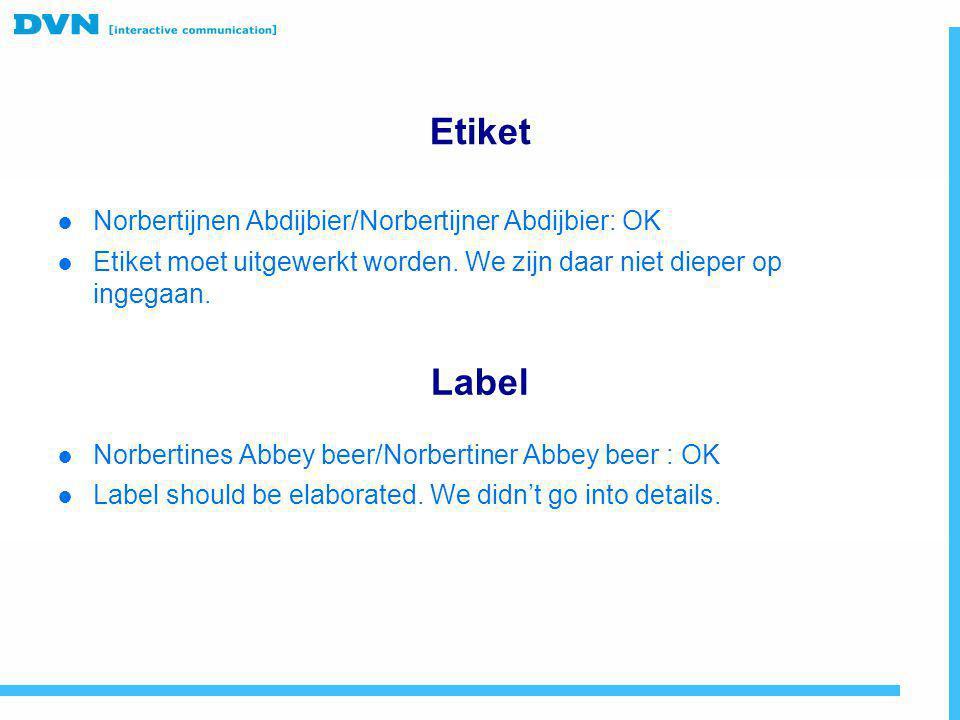 Etiket Label Norbertijnen Abdijbier/Norbertijner Abdijbier: OK