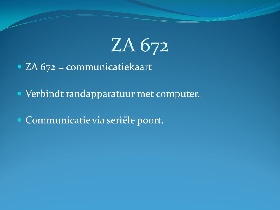 ZA 672 ZA 672 = communicatiekaart