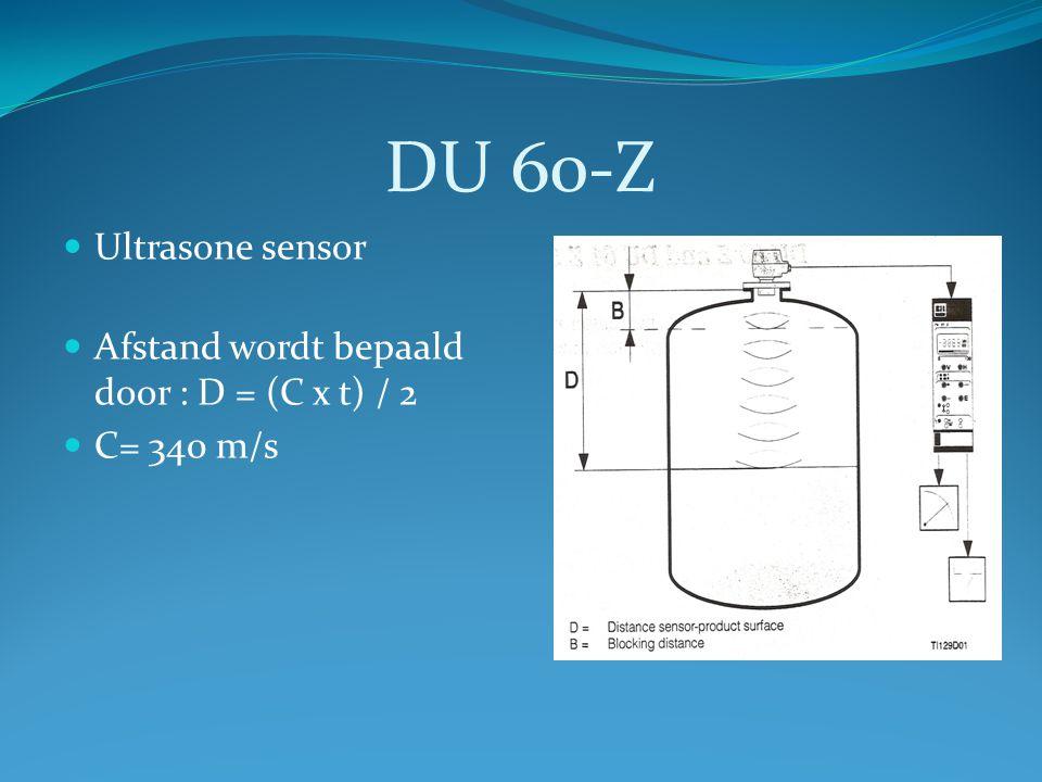 DU 60-Z Ultrasone sensor Afstand wordt bepaald door : D = (C x t) / 2
