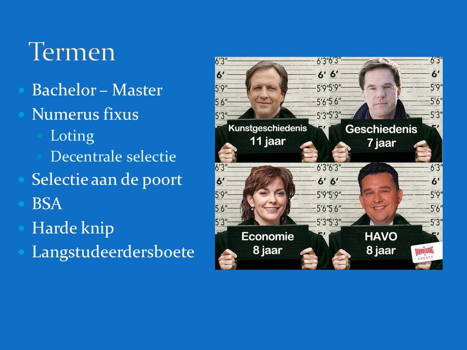 Termen Bachelor – Master Numerus fixus Selectie aan de poort BSA