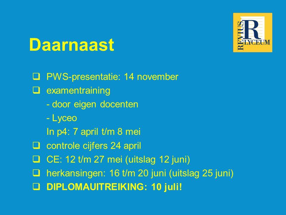 Daarnaast PWS-presentatie: 14 november examentraining