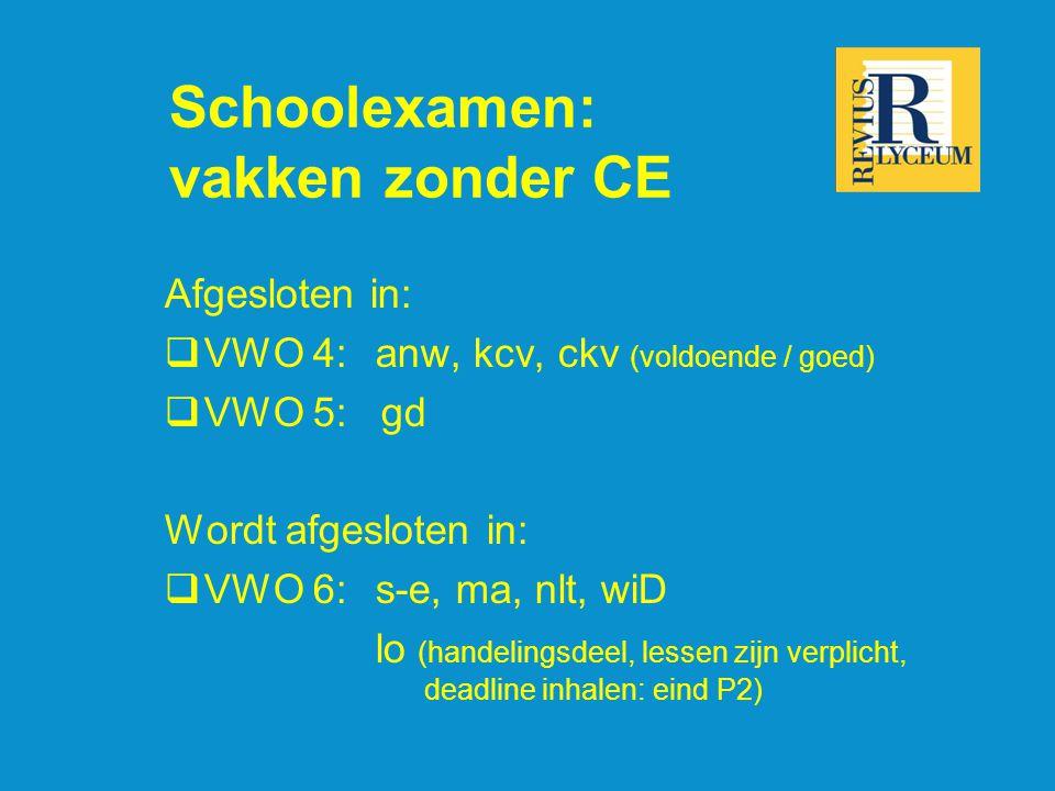 Schoolexamen: vakken zonder CE