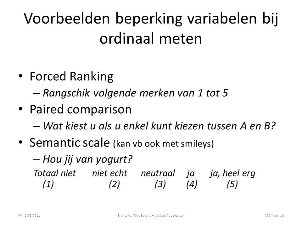 Voorbeelden beperking variabelen bij ordinaal meten