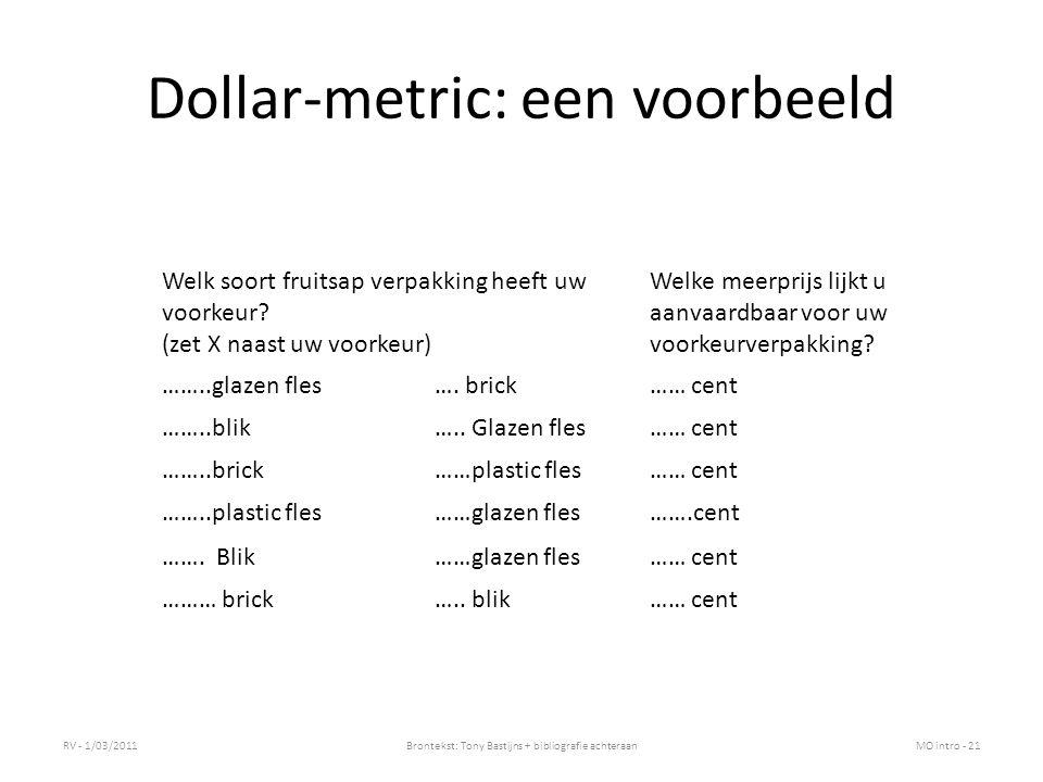 Dollar-metric: een voorbeeld
