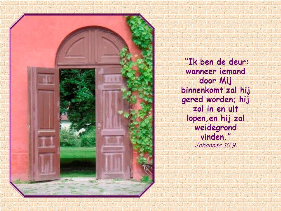 Ik ben de deur: wanneer iemand door Mij binnenkomt zal hij gered worden; hij zal in en uit lopen,en hij zal weidegrond vinden.