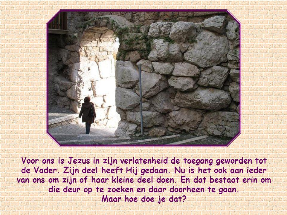 Voor ons is Jezus in zijn verlatenheid de toegang geworden tot de Vader. Zijn deel heeft Hij gedaan. Nu is het ook aan ieder van ons om zijn of haar kleine deel doen. En dat bestaat erin om die deur op te zoeken en daar doorheen te gaan.