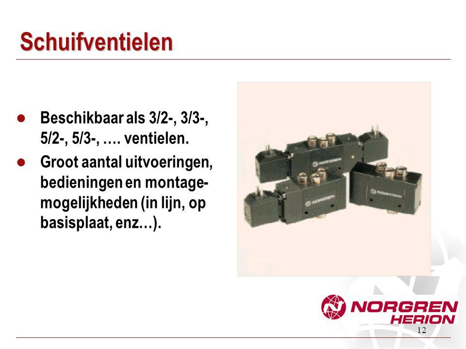 Schuifventielen Beschikbaar als 3/2-, 3/3-, 5/2-, 5/3-, …. ventielen.