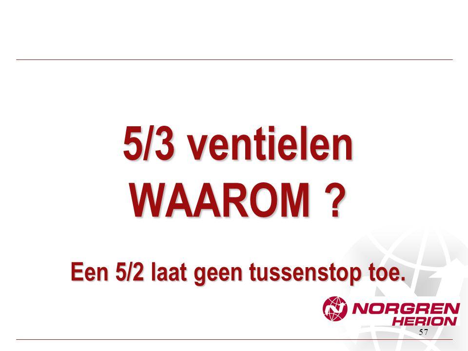5/3 ventielen WAAROM Een 5/2 laat geen tussenstop toe.