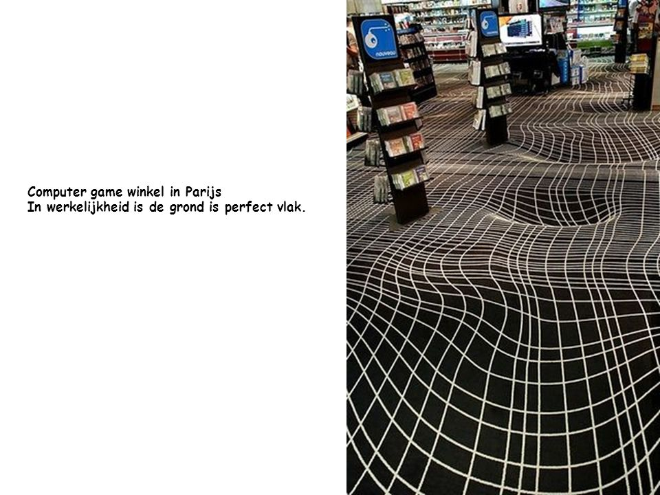 Computer game winkel in Parijs In werkelijkheid is de grond is perfect vlak.