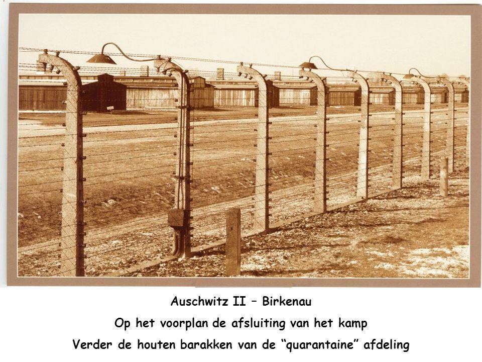 Auschwitz II – Birkenau Op het voorplan de afsluiting van het kamp
