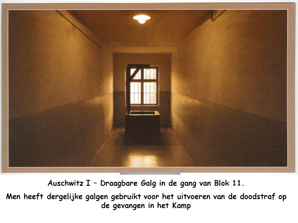 Auschwitz I – Draagbare Galg in de gang van Blok 11.