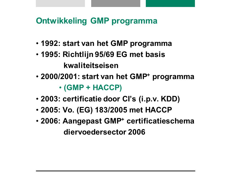 Ontwikkeling GMP programma