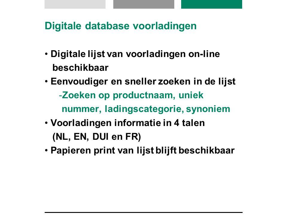 Digitale database voorladingen