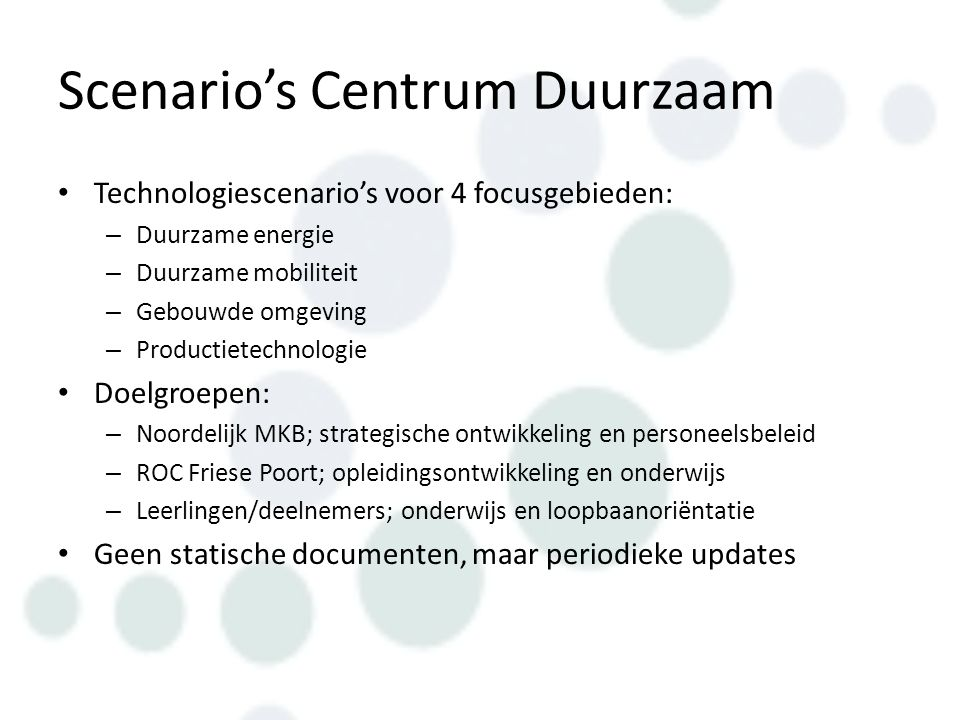 Scenario's Centrum Duurzaam