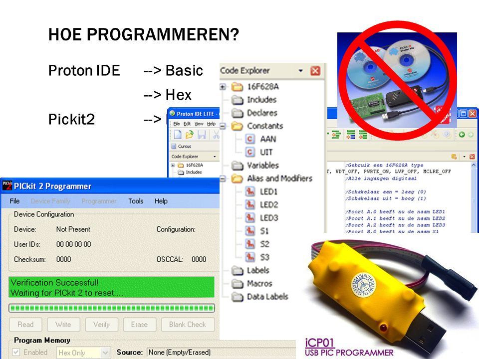 Hoe programmeren Proton IDE --> Basic --> Hex Pickit2 --> Hex --> USB-stick --> pic