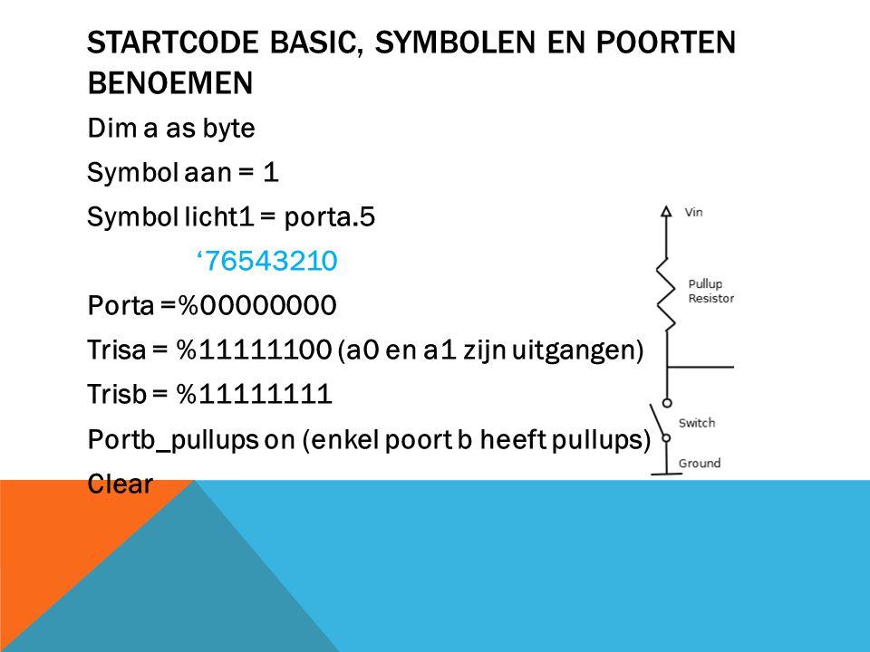 Startcode Basic, symbolen en poorten benoemen