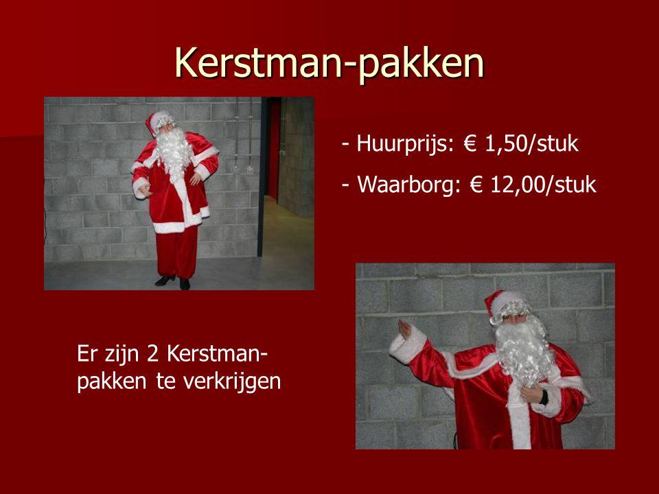 Kerstman-pakken Huurprijs: € 1,50/stuk - Waarborg: € 12,00/stuk