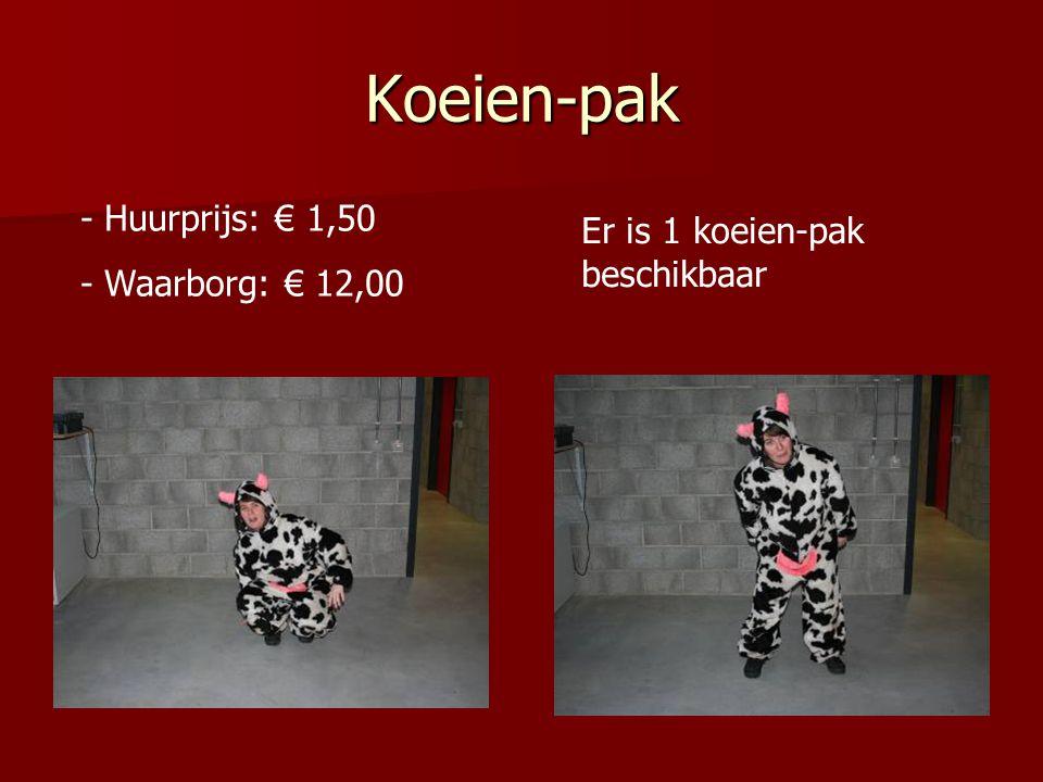 Koeien-pak Huurprijs: € 1,50 Er is 1 koeien-pak beschikbaar