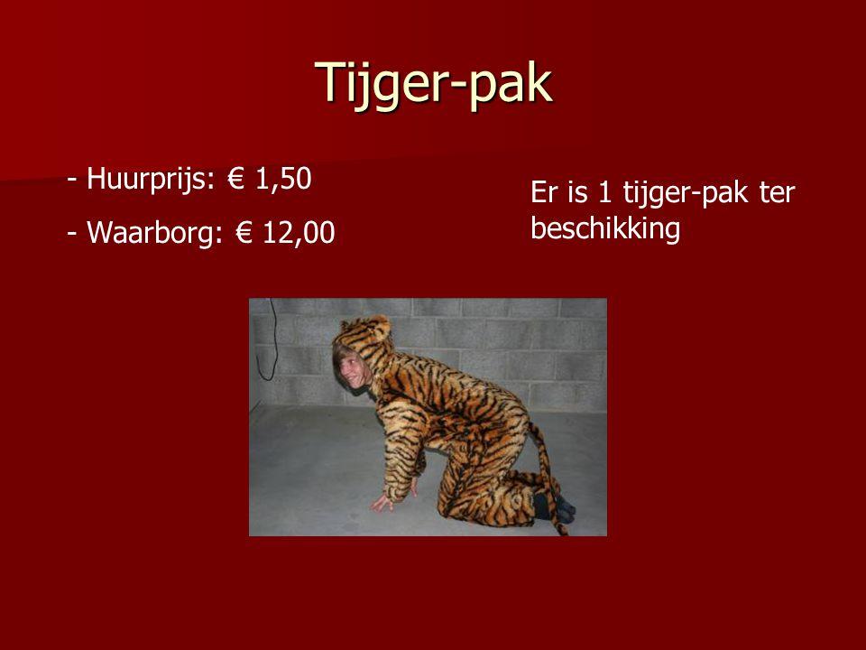 Tijger-pak Huurprijs: € 1,50 Er is 1 tijger-pak ter beschikking