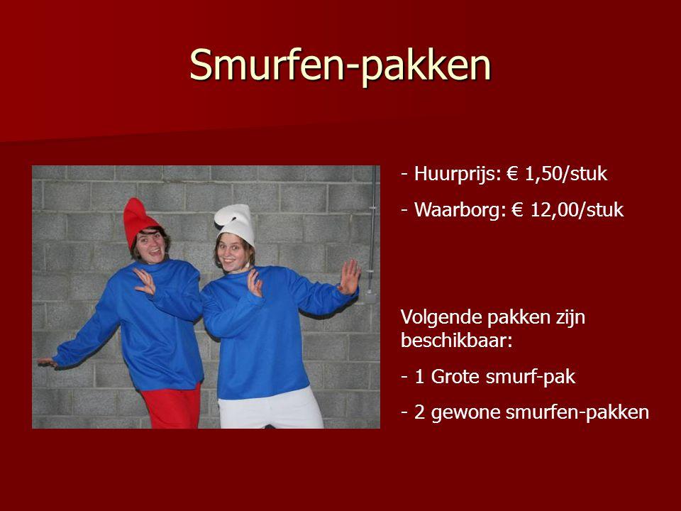 Smurfen-pakken Huurprijs: € 1,50/stuk Waarborg: € 12,00/stuk