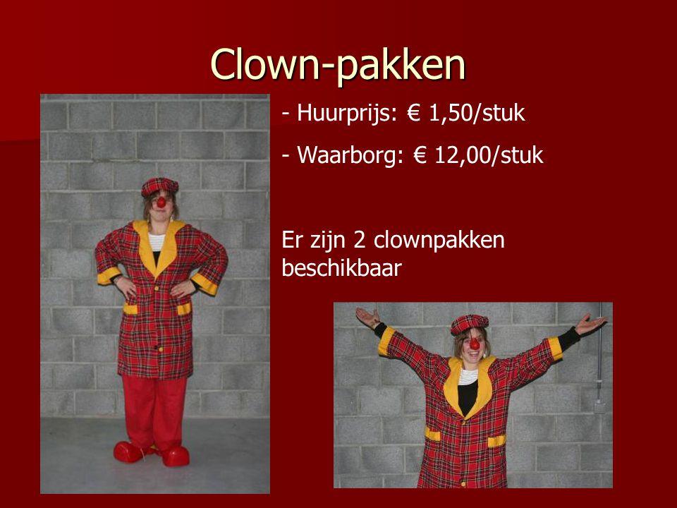 Clown-pakken Huurprijs: € 1,50/stuk Waarborg: € 12,00/stuk
