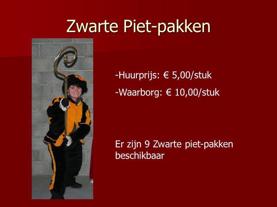 Zwarte Piet-pakken Huurprijs: € 5,00/stuk Waarborg: € 10,00/stuk