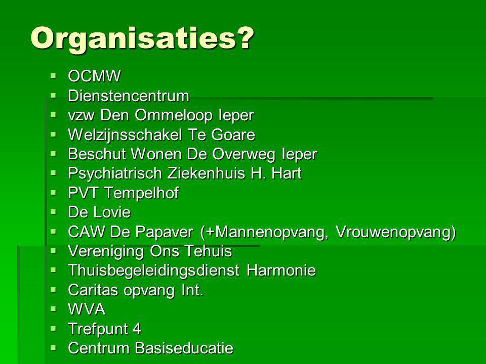 Organisaties OCMW Dienstencentrum vzw Den Ommeloop Ieper