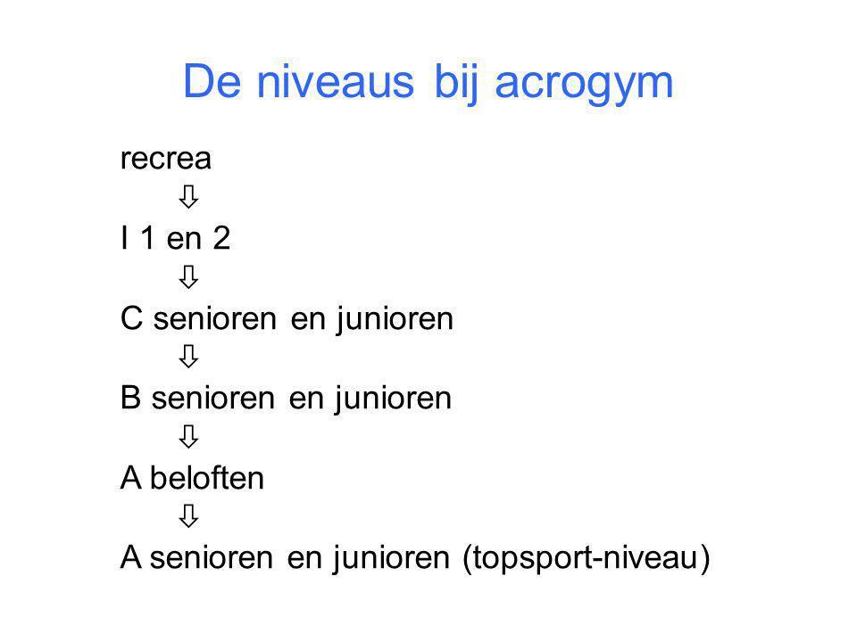 De niveaus bij acrogym recrea  I 1 en 2 C senioren en junioren