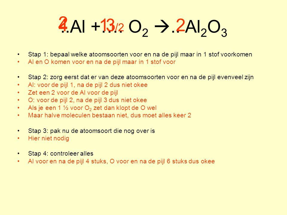 ..Al +…. O2 .. Al2O3 2. 4. 11/2. 3. 2. Stap 1: bepaal welke atoomsoorten voor en na de pijl maar in 1 stof voorkomen.