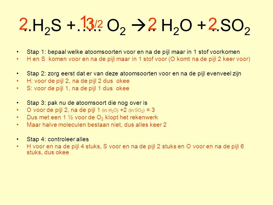 ..H2S +….. O2 .. H2O + ..SO2 11/2. 2. 3. 2. 2. Stap 1: bepaal welke atoomsoorten voor en na de pijl maar in 1 stof voorkomen.