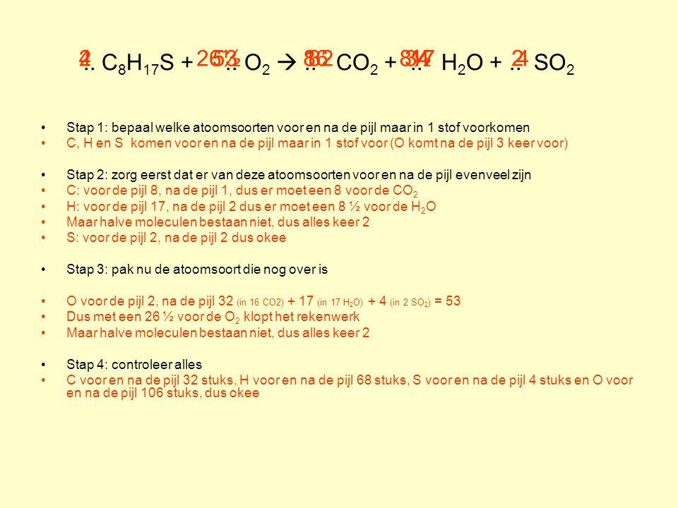 .. C8H17S + .. O2  .. CO2 + .. H2O + .. SO2 4. 2. 26½. 53. 8. 16. 32. 8½. 34. 17.