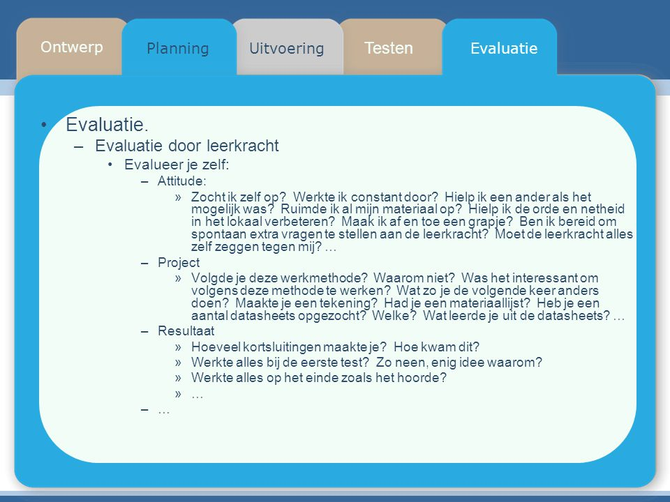 Evaluatie. Testen Evaluatie door leerkracht Ontwerp Planning