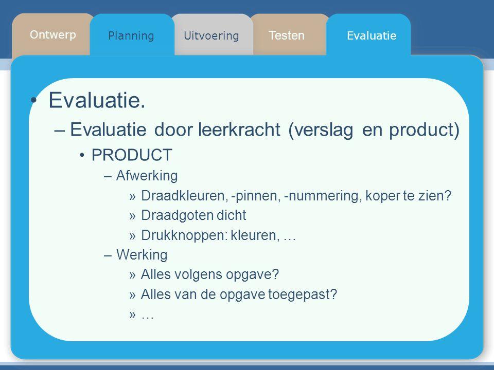 Evaluatie. Evaluatie door leerkracht (verslag en product) PRODUCT