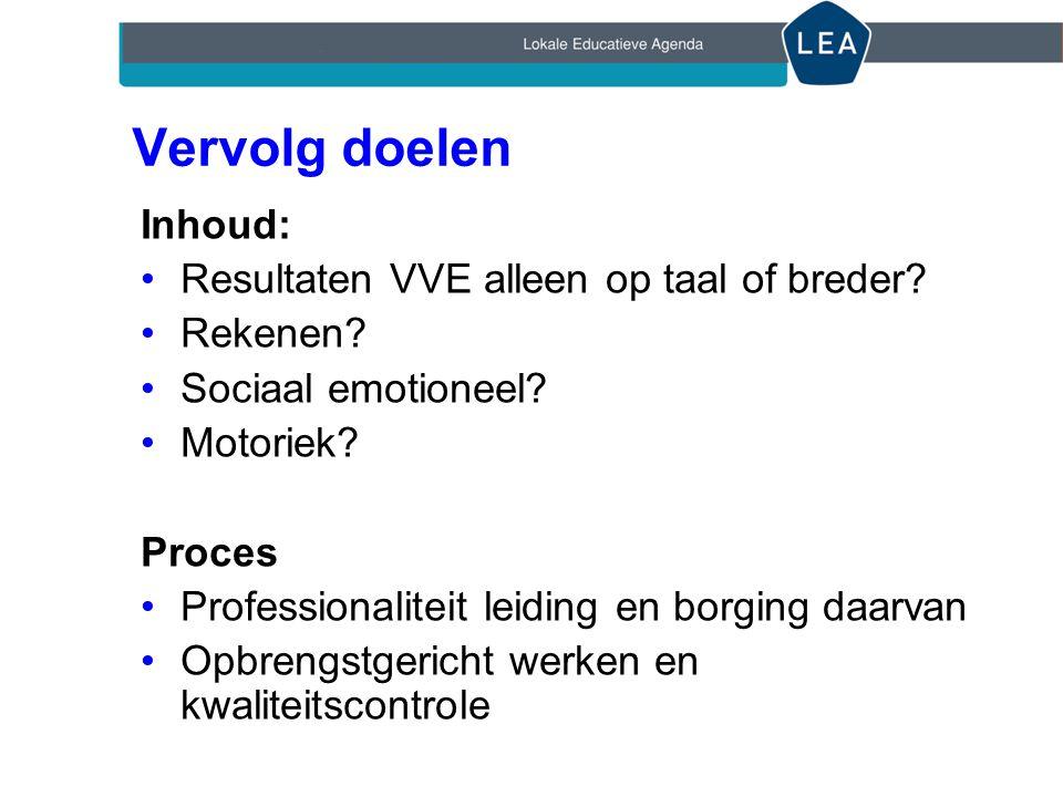 Vervolg doelen Inhoud: Resultaten VVE alleen op taal of breder