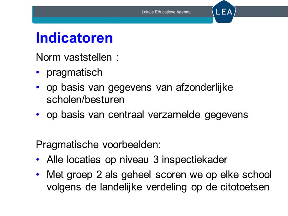 Indicatoren Norm vaststellen : pragmatisch