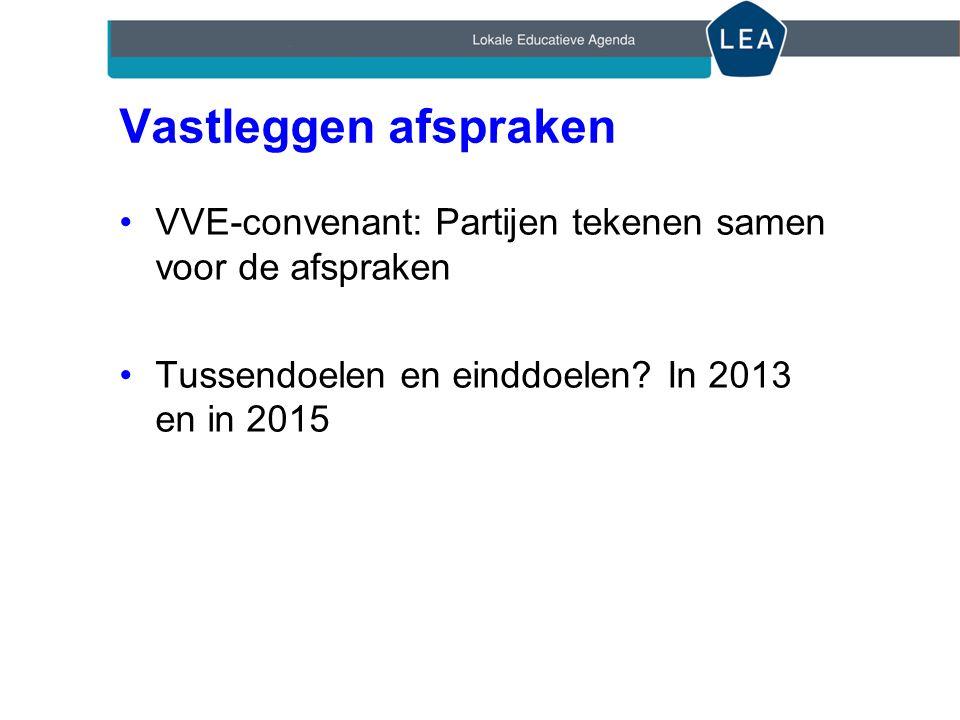 Vastleggen afspraken VVE-convenant: Partijen tekenen samen voor de afspraken.