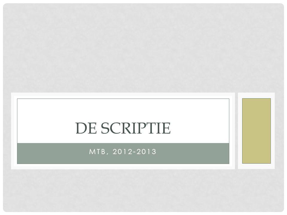 DE SCRIPTIE MTB, 2012-2013