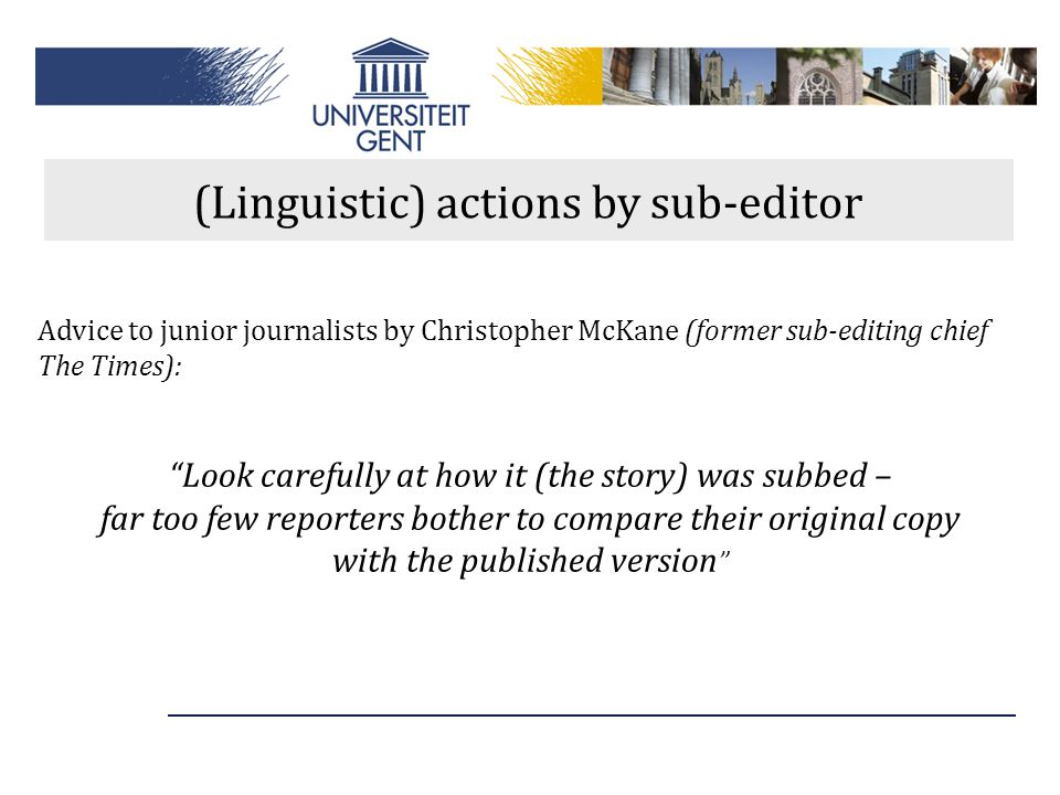 (Linguistic) actions by sub-editor