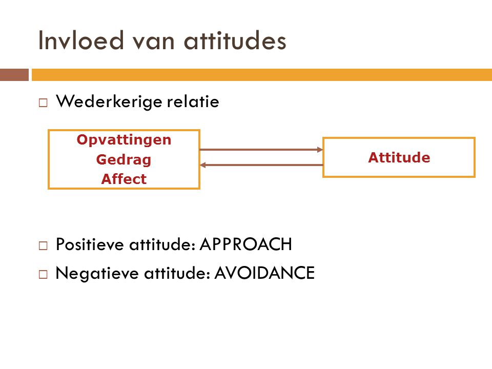 Invloed van attitudes Wederkerige relatie Positieve attitude: APPROACH