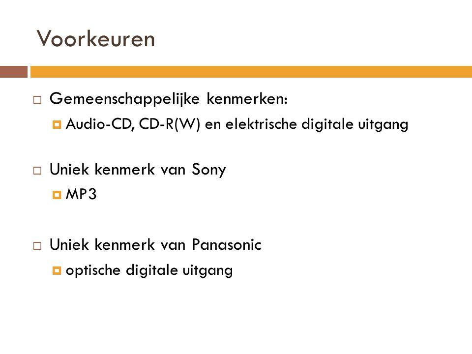 Voorkeuren Gemeenschappelijke kenmerken: Uniek kenmerk van Sony