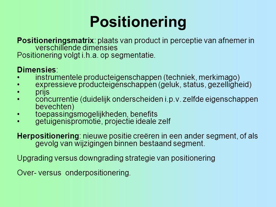 Positionering Positioneringsmatrix: plaats van product in perceptie van afnemer in verschillende dimensies.