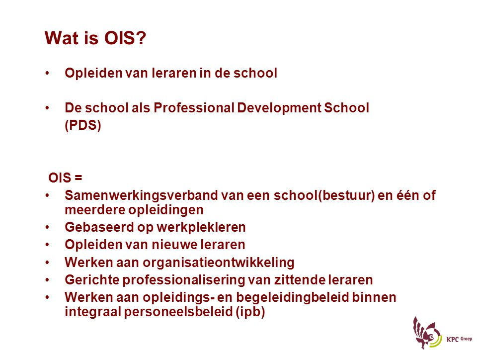 Wat is OIS Opleiden van leraren in de school